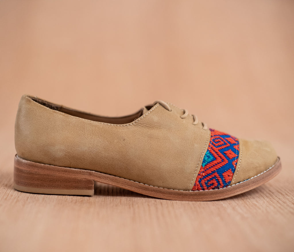 Brown leather upholstery with Blue with Orange textile - TOCO MADERA - Handcraft shoe from Mexico - Handmade shoe