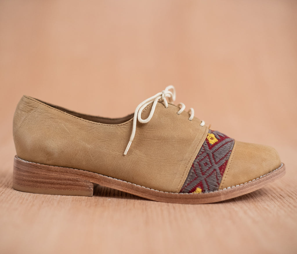 Brown leather upholstery with wine and gray textile - TOCO MADERA - Handcraft shoe from Mexico - Handmade shoe