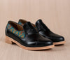 Black leather finolis with gold and blue textile - TOCO MADERA - Handcraft shoe from Mexico - Handmade shoe