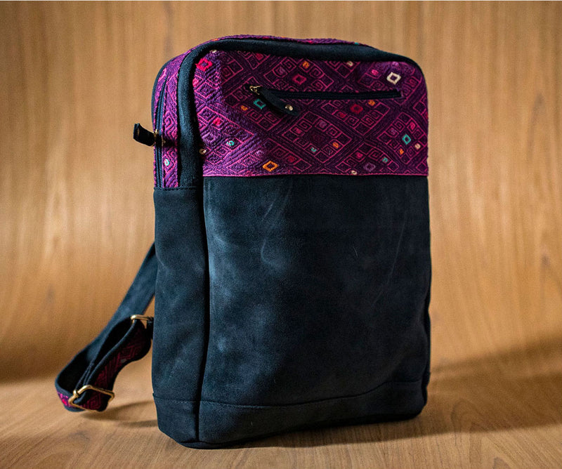 Blue leather backpack with pink and purple textile - TOCO MADERA - Handcraft shoe from Mexico - Handmade shoe
