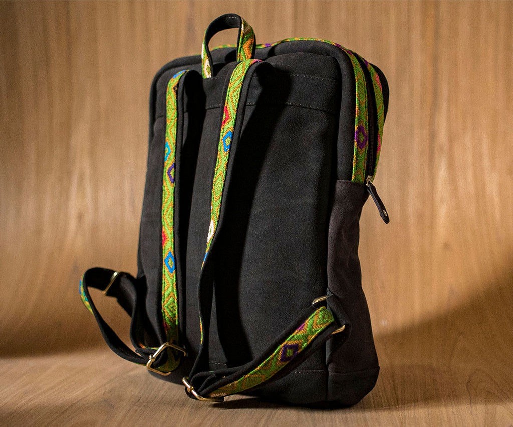 Brown leather backpack with yellow and green textile - TOCO MADERA - Handcraft shoe from Mexico - Handmade shoe