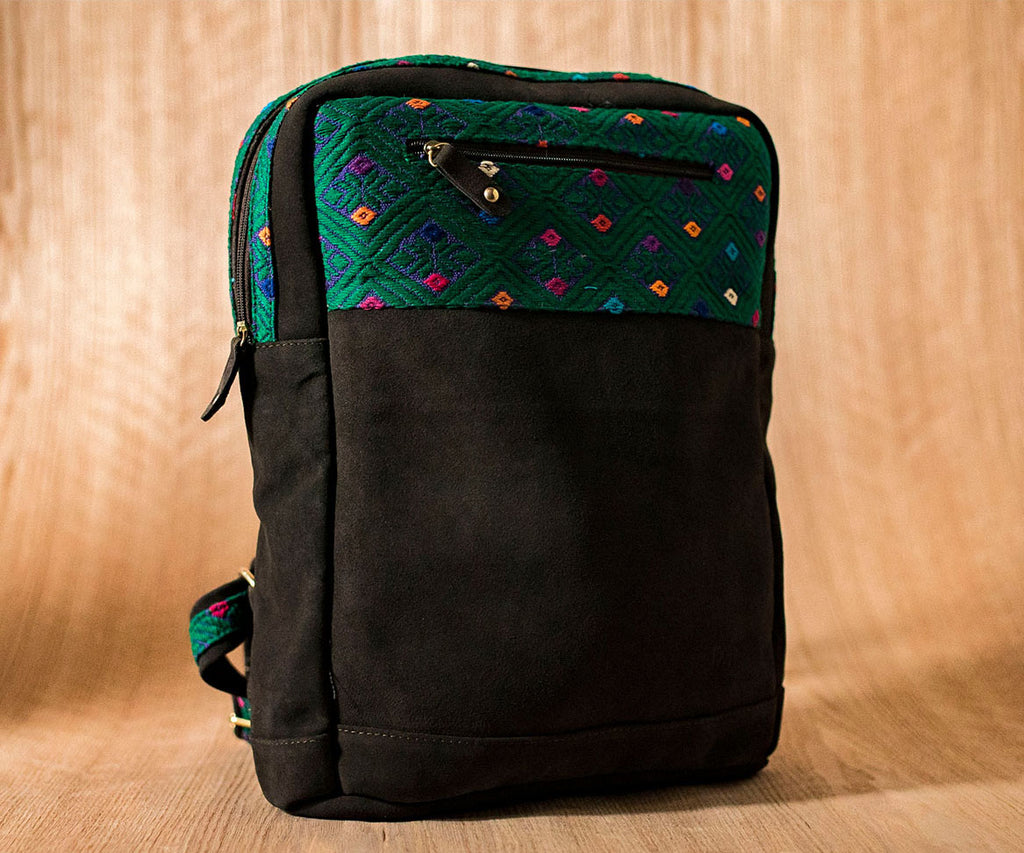 Brown leather backpack with blue and green textile - TOCO MADERA - Handcraft shoe from Mexico - Handmade shoe