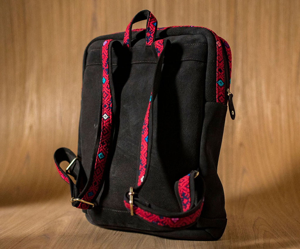 Brown leather backpack with red and blue textile - TOCO MADERA - Handcraft shoe from Mexico - Handmade shoe