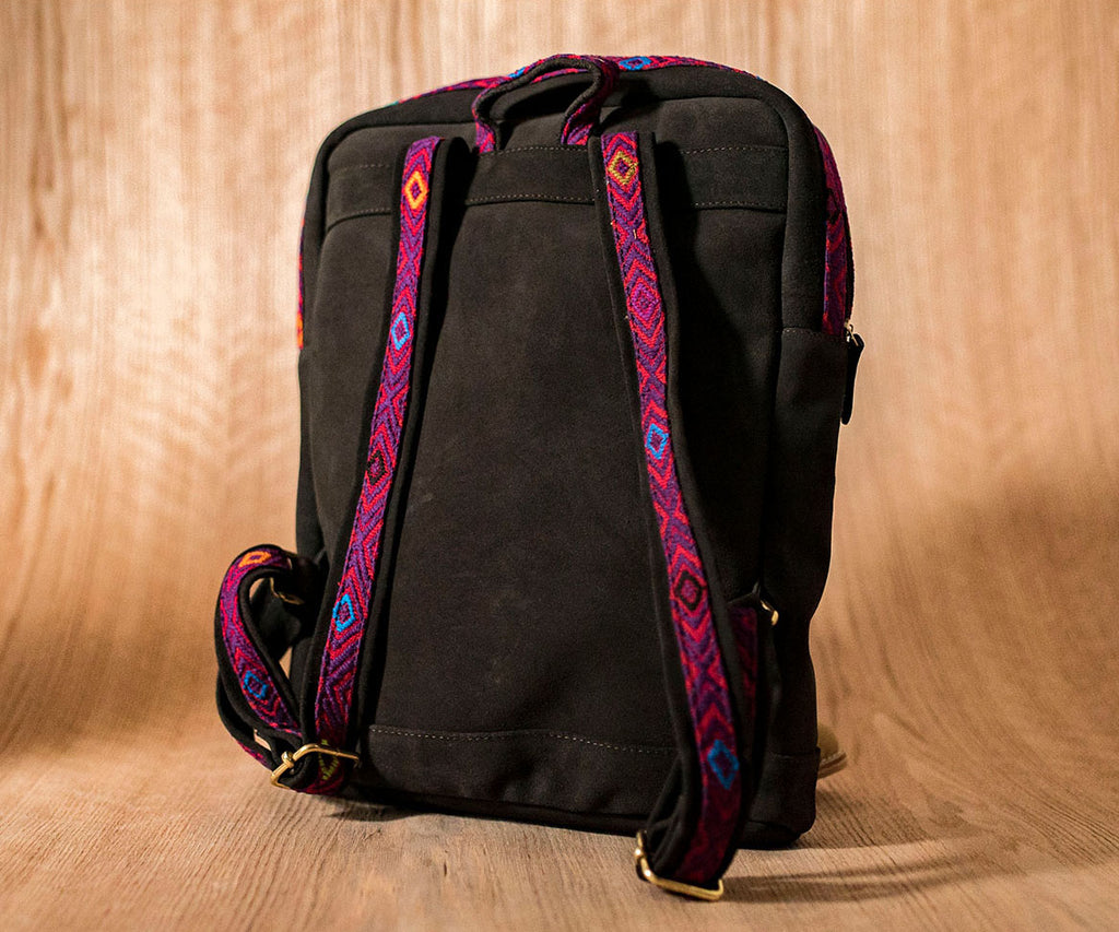 Brown leather backpack with red and purple textile - TOCO MADERA - Handcraft shoe from Mexico - Handmade shoe