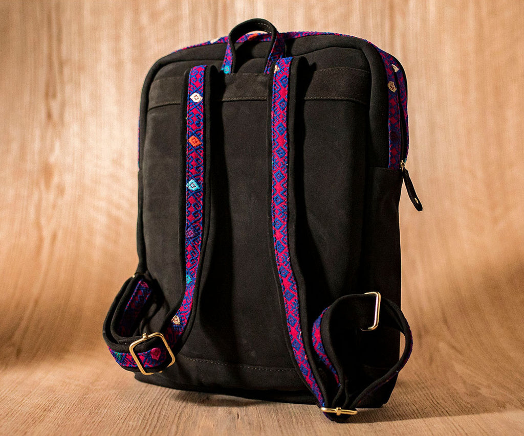 Brown leather backpack with pink and blue textile - TOCO MADERA - Handcraft shoe from Mexico - Handmade shoe