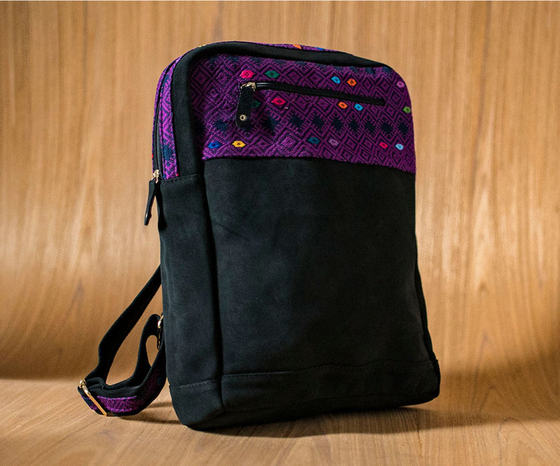 Black leather backpack with blue and purple textile - TOCO MADERA - Handcraft shoe from Mexico - Handmade shoe