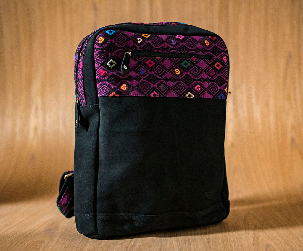 Black leather backpack with purple and black textile - TOCO MADERA - Handcraft shoe from Mexico - Handmade shoe