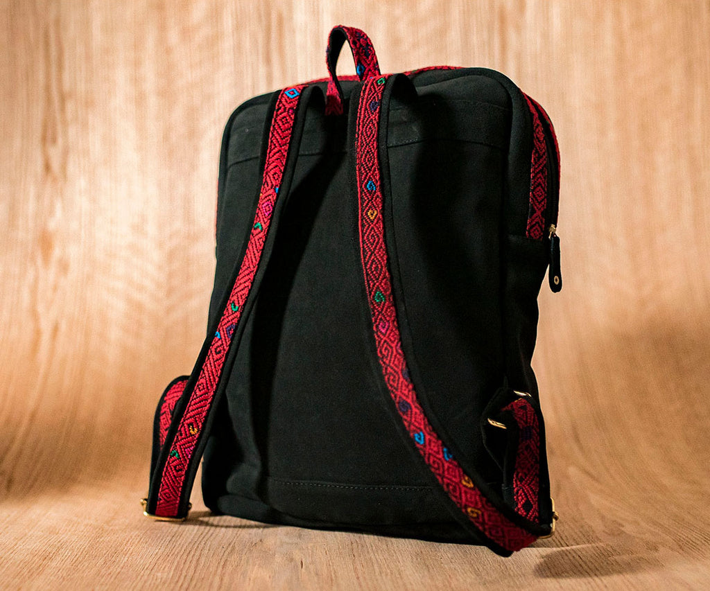 Black leather backpack with red and black textile - TOCO MADERA - Handcraft shoe from Mexico - Handmade shoe
