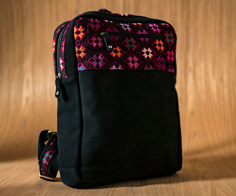 Black leather backpack with pink and black textile - TOCO MADERA - Handcraft shoe from Mexico - Handmade shoe