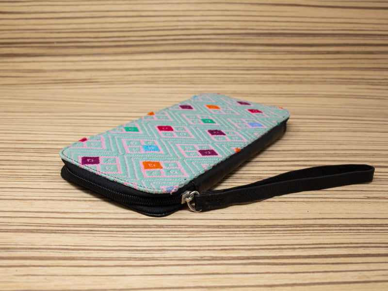 Family passport holder leather black textile green with pink - TOCO MADERA - Handcraft shoe from Mexico - Handmade shoe