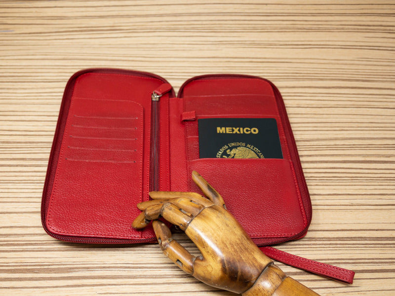Family passport holder red leather brown and cream textile - TOCO MADERA - Handcraft shoe from Mexico - Handmade shoe