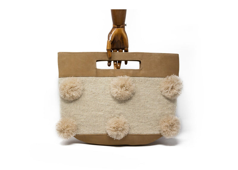 BEIGE LEATHER BEIGE POMPON