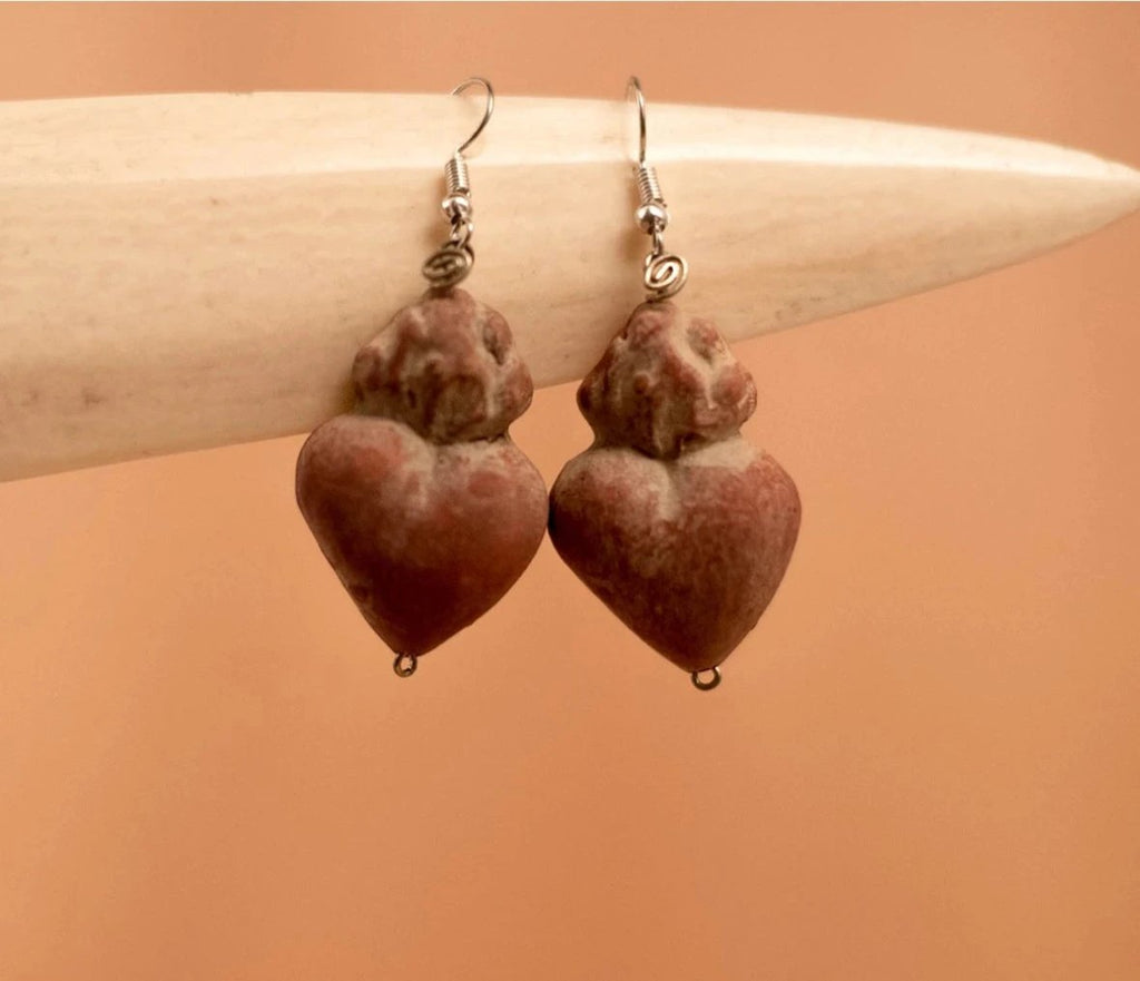 Red heart clay earrings - TOCO MADERA - Handcraft shoe from Mexico - Handmade shoe