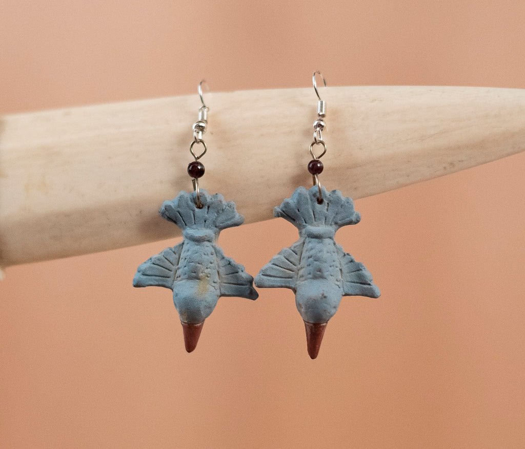 Colibri gray clay earrings - TOCO MADERA - Handcraft shoe from Mexico - Handmade shoe