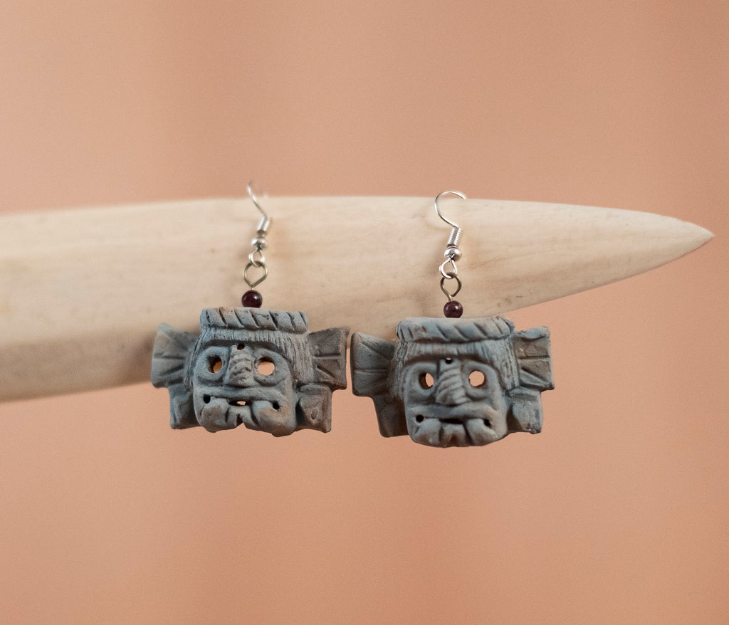 Gray clay earrings - TOCO MADERA - Handcraft shoe from Mexico - Handmade shoe