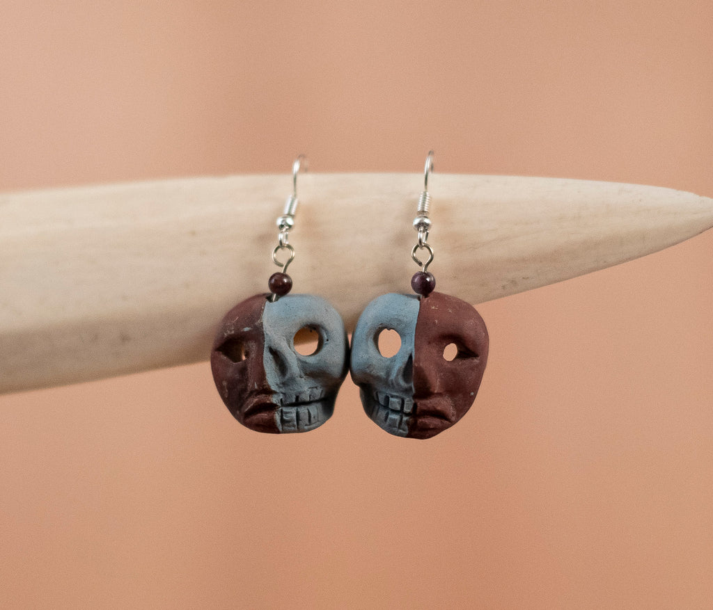 Gray coffee skull Earrings - TOCO MADERA - Handcraft shoe from Mexico - Handmade shoe