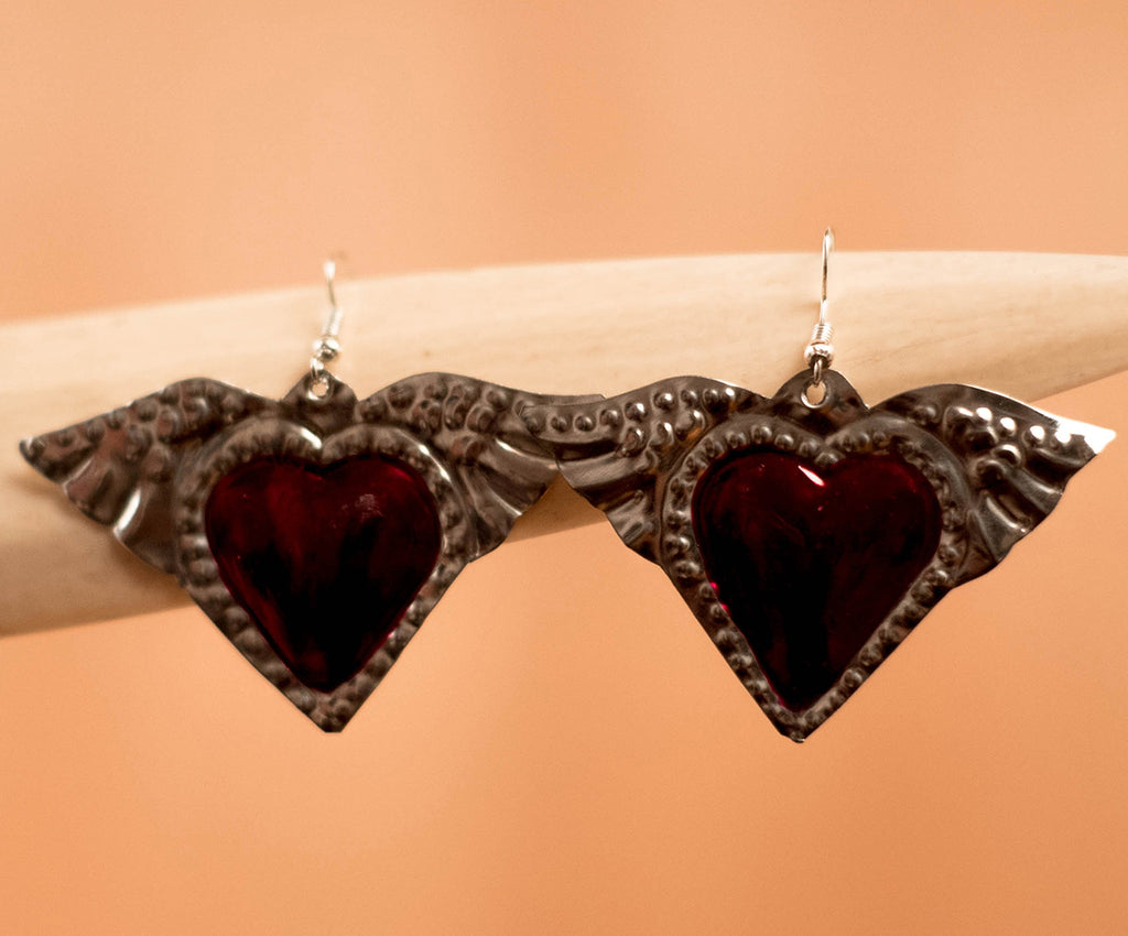 Earrings Brass heart with wings - TOCO MADERA - Handcraft shoe from Mexico - Handmade shoe
