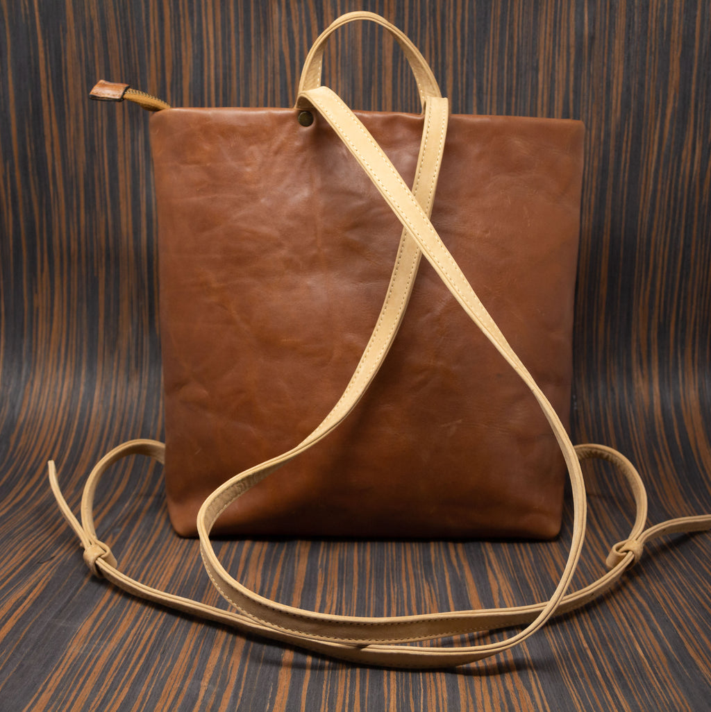 Brown leather backpack with straps - TOCO MADERA - Handcraft shoe from Mexico - Handmade shoe
