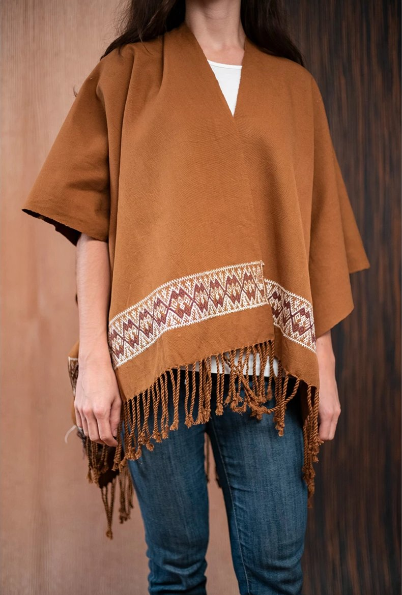 Shawl with Chiapas loom Brown - TOCO MADERA - Handcraft shoe from Mexico - Handmade shoe