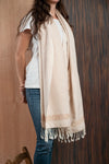 Scarf / poncho with Chiapas Cream loom - TOCO MADERA - Handcraft shoe from Mexico - Handmade shoe