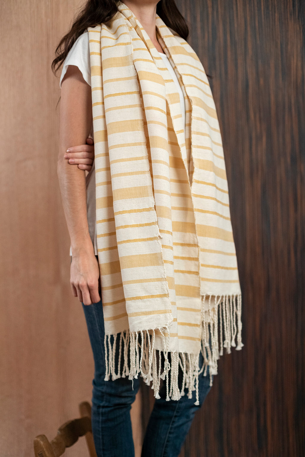 Scarf / poncho with Oaxaca loom beige yellow - TOCO MADERA - Handcraft shoe from Mexico - Handmade shoe