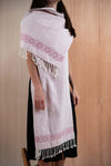 Scarf / poncho with Chiapas loom Light pink - TOCO MADERA - Handcraft shoe from Mexico - Handmade shoe