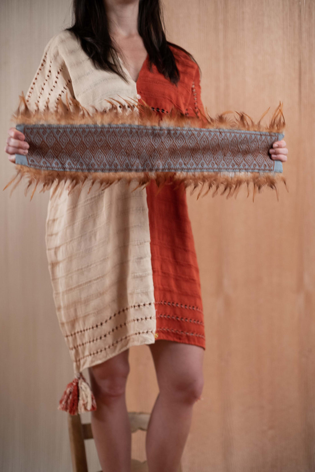 Huipil Orange and Cream Chiapas Loom with feathers - TOCO MADERA - Handcraft shoe from Mexico - Handmade shoe