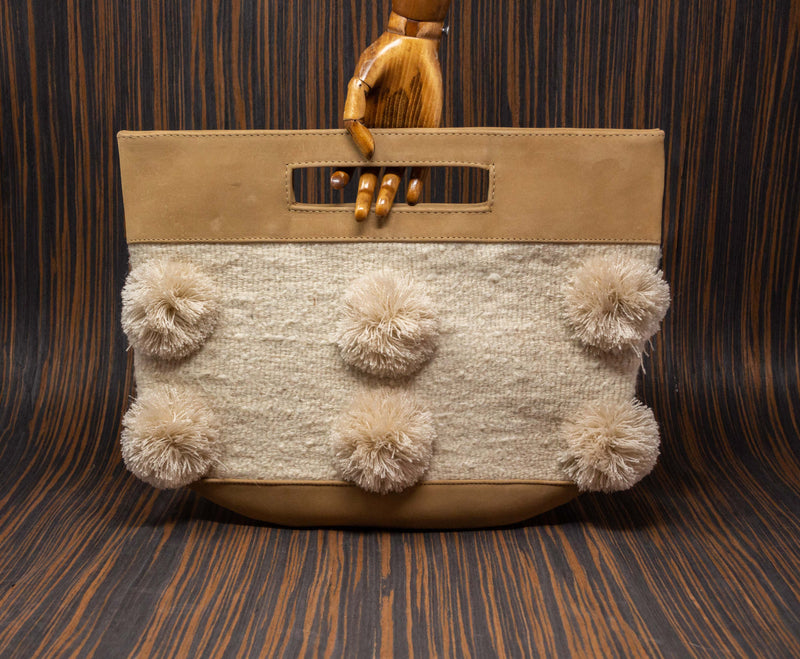 Cream handbag with white textile with cream pompoms - TOCO MADERA - Handcraft shoe from Mexico - Handmade shoe