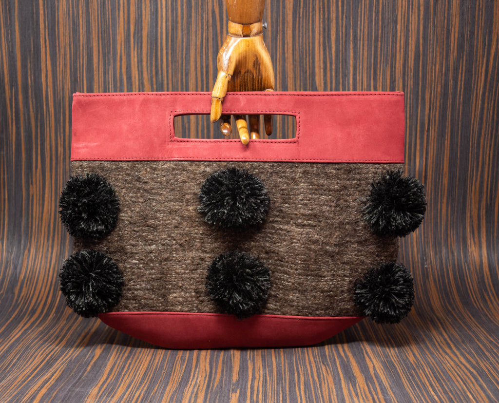 Wine color handbag with brown textile with black pompoms - TOCO MADERA - Handcraft shoe from Mexico - Handmade shoe