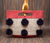Wine color handbag with gray striped textile with blue pompoms - TOCO MADERA - Handcraft shoe from Mexico - Handmade shoe
