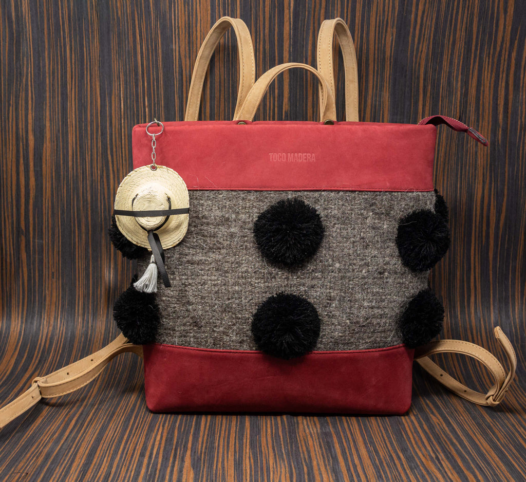 Wine leather backpack with straps and gray Chamula textile handle with black pompoms - TOCO MADERA - Handcraft shoe from Mexico - Handmade shoe
