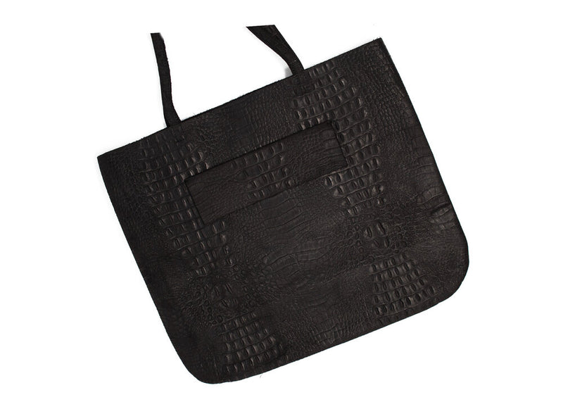 TOTE: BLACK LEATHER CROCODILE TEXTURE