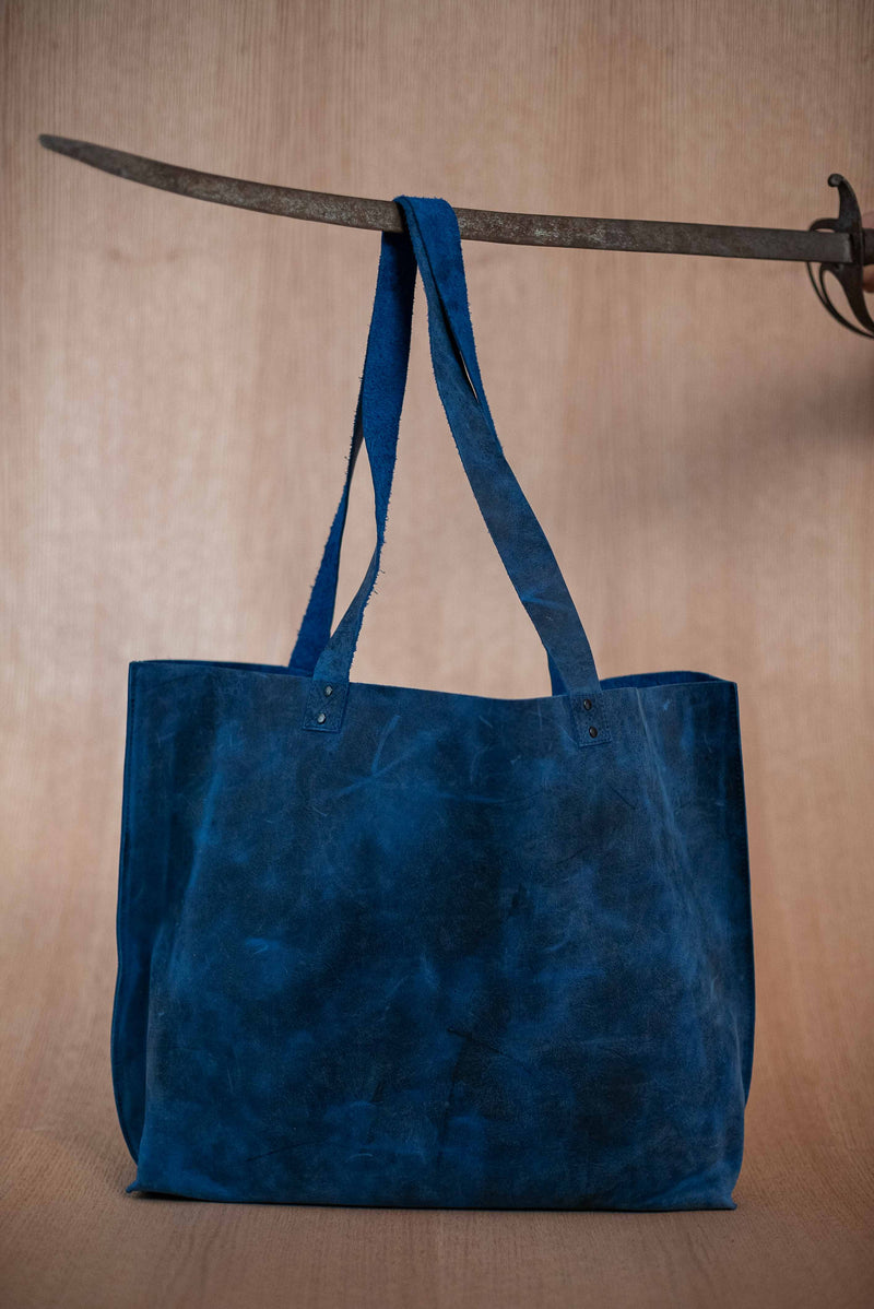 Extra large blue leather bag - TOCO MADERA - Handcraft shoe from Mexico - Handmade shoe