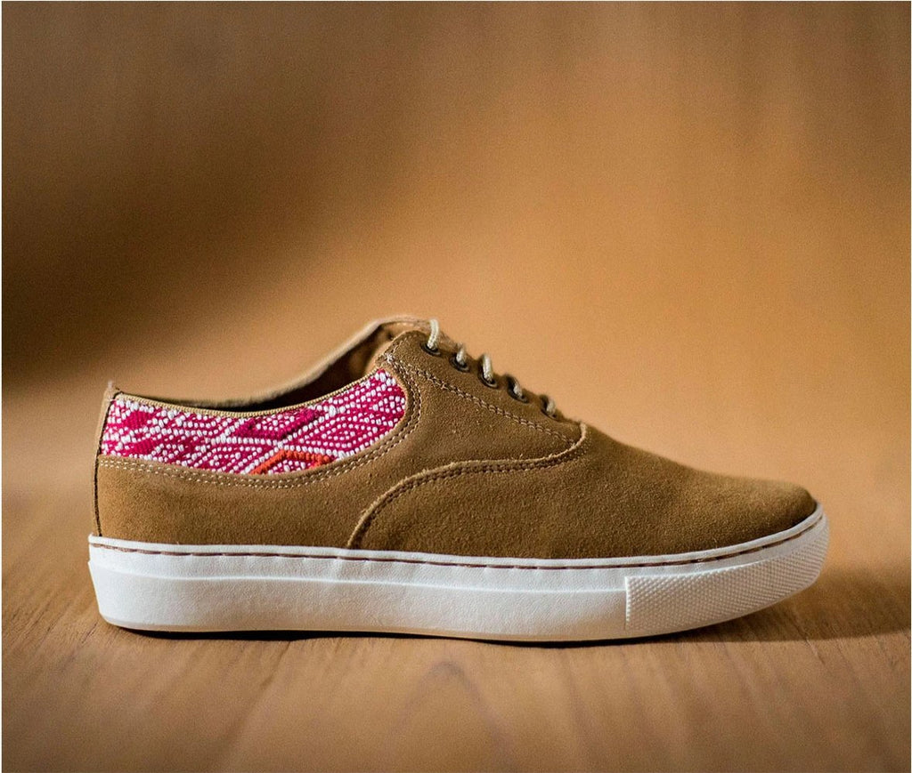 Very very brown leather woman with pink and white textile - TOCO MADERA - Handcraft shoe from Mexico - Handmade shoe