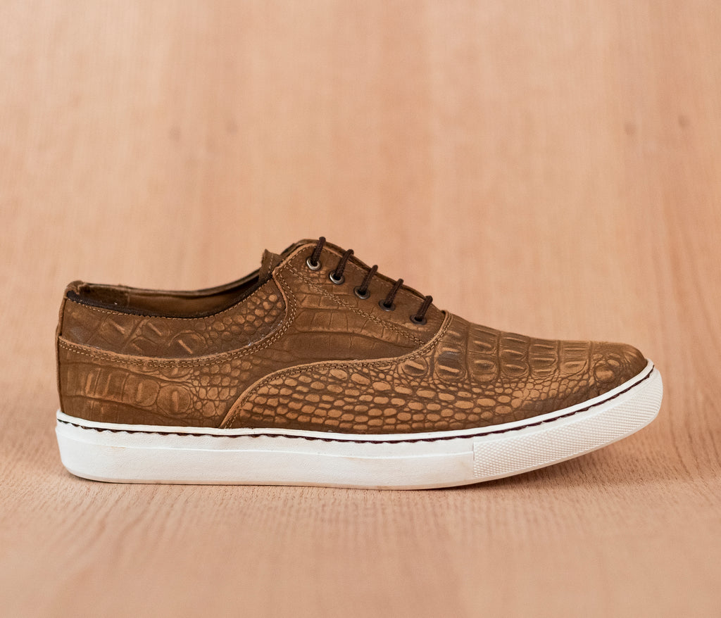 Men's shoes sneakers brown leather engraved crocodile - TOCO MADERA - Handcraft shoe from Mexico - Handmade shoe