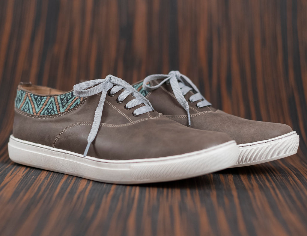 Very very gray leather man with gray and blue textile - TOCO MADERA - Handcraft shoe from Mexico - Handmade shoe