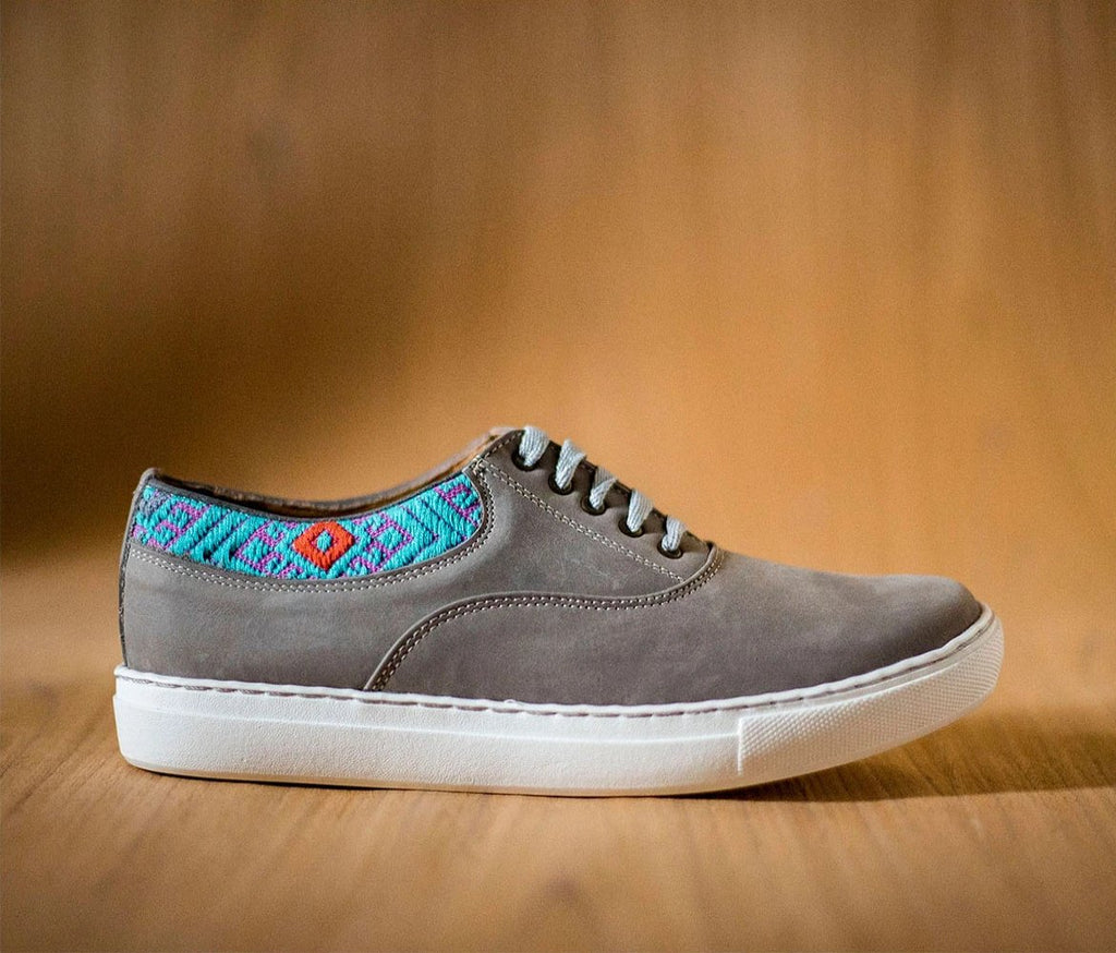 Very very gray leather man with Pink Turquoise textile - TOCO MADERA - Handcraft shoe from Mexico - Handmade shoe
