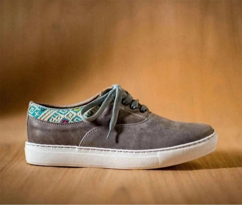 Very very gray leather man with turquoise and beige textile - TOCO MADERA - Handcraft shoe from Mexico - Handmade shoe