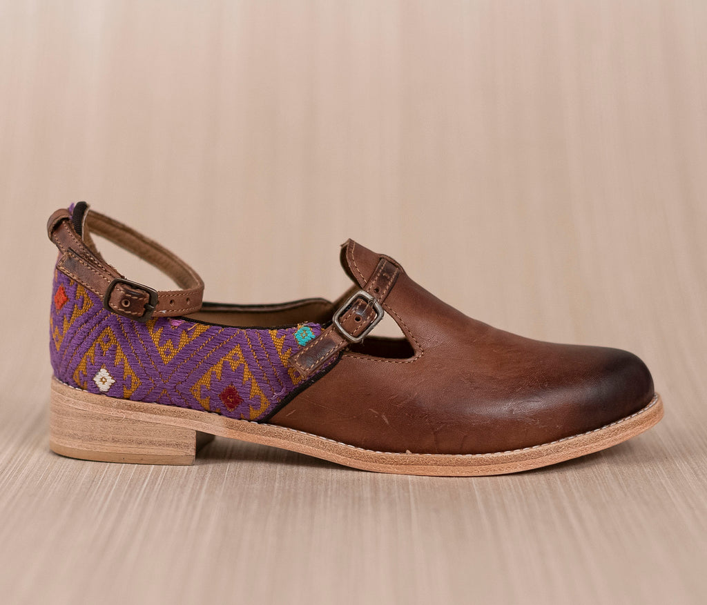 Gold leather and textile with gold purses - TOCO MADERA - Handcraft shoe from Mexico - Handmade shoe