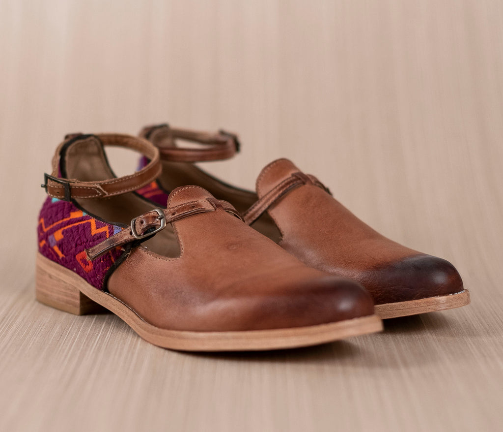 SCHOOLS brown leather and orange textile with purple - TOCO MADERA - Handcraft shoe from Mexico - Handmade shoe