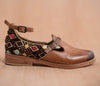 ESCUINCLAS brown leather and yellow and brown textile - TOCO MADERA - Handcraft shoe from Mexico - Handmade shoe