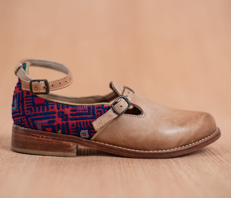 ESCUINCLAS brown leather and red and blue textile - TOCO MADERA - Handcraft shoe from Mexico - Handmade shoe