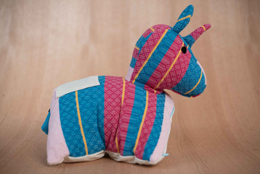 Blue pink unicorn animal - TOCO MADERA - Handcraft shoe from Mexico - Handmade shoe