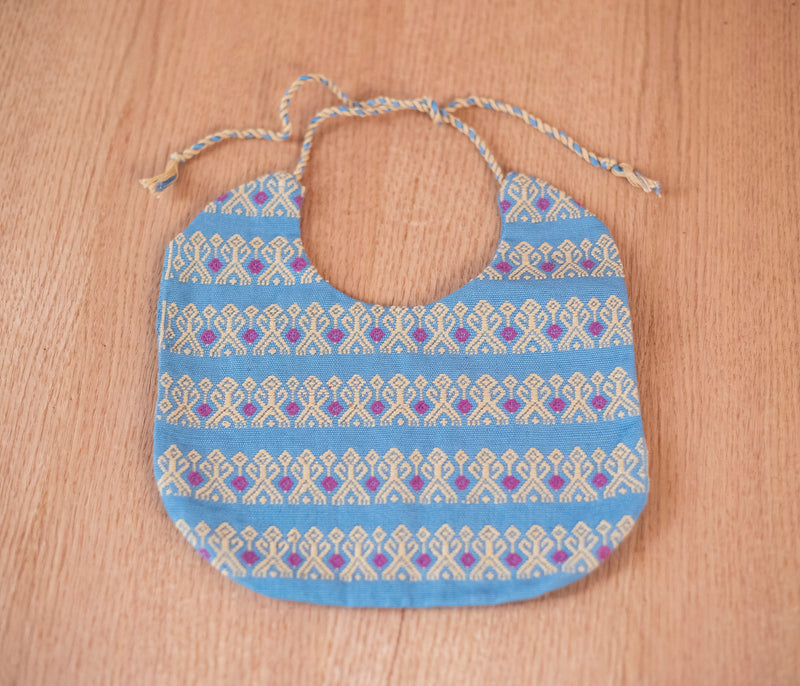 Blue and white fabric baby bib - TOCO MADERA - Handcraft shoe from Mexico - Handmade shoe