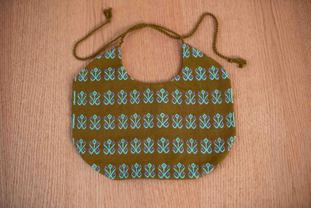 Baby cloth bib blue green - TOCO MADERA - Handcraft shoe from Mexico - Handmade shoe
