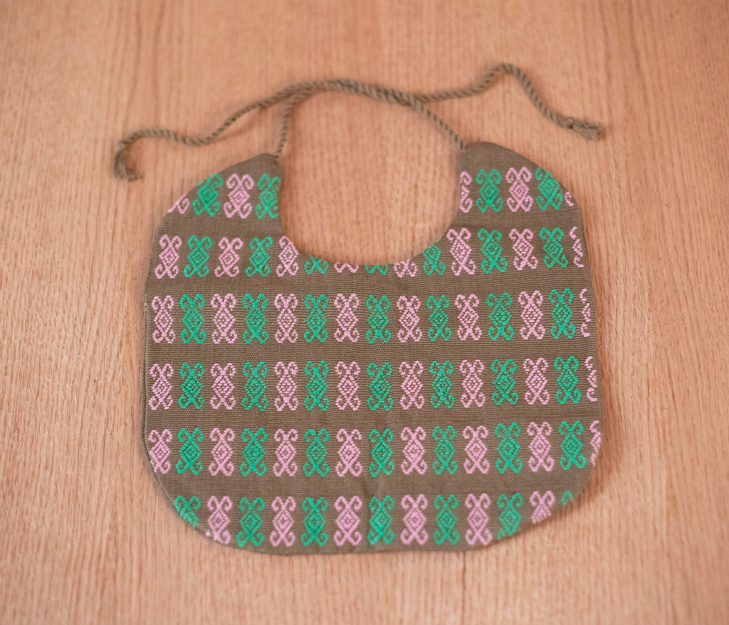 Baby bib pink green fabric - TOCO MADERA - Handcraft shoe from Mexico - Handmade shoe