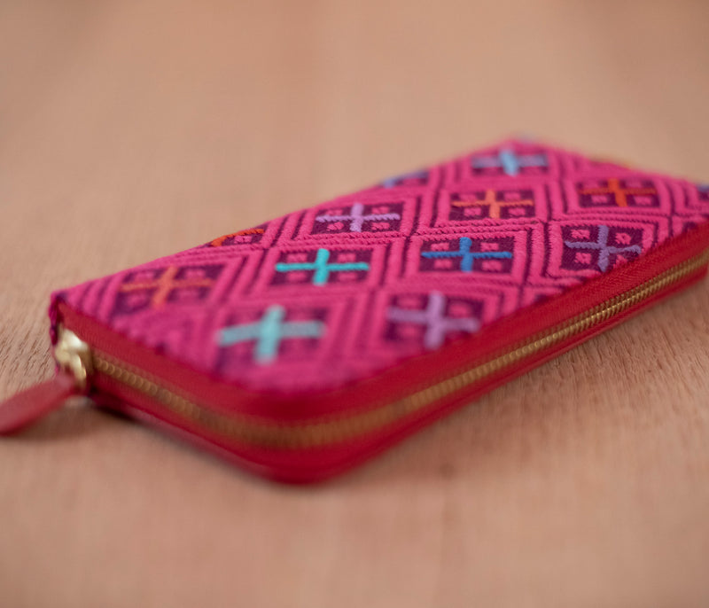 Purple and pink textile wallet - TOCO MADERA - Handcraft shoe from Mexico - Handmade shoe