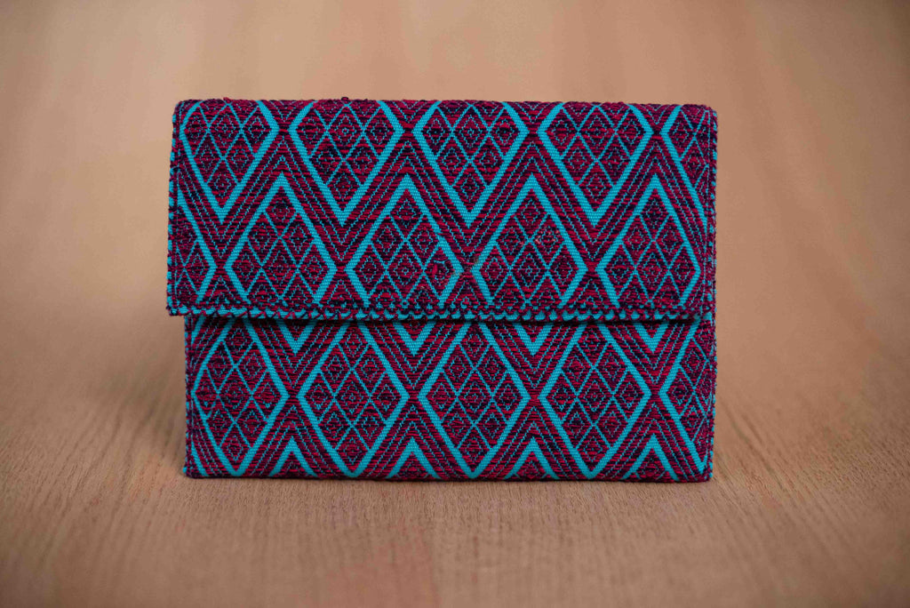 Purple blue textile clutch - TOCO MADERA - Handcraft shoe from Mexico - Handmade shoe
