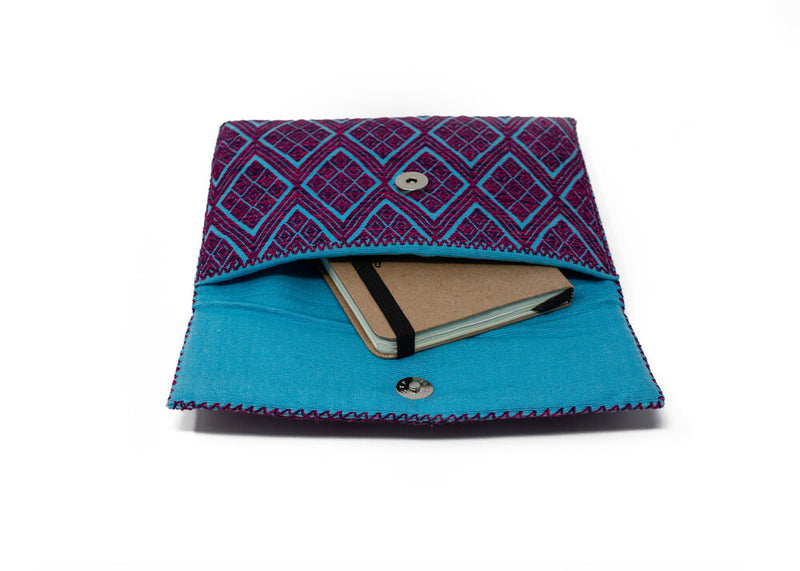 PURPLE AND BLUE CLUTCH FOLDER