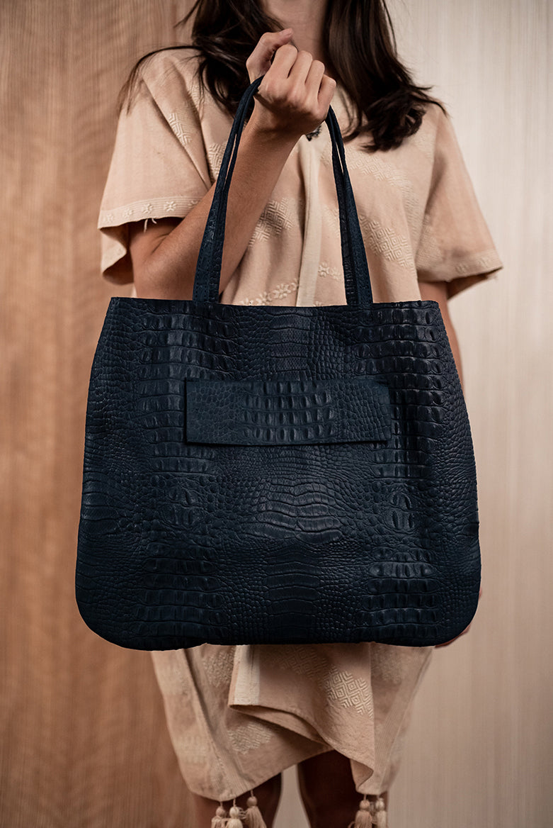 Blue crocodile bag - TOCO MADERA - Handcraft shoe from Mexico - Handmade shoe